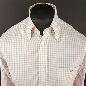 Lacoste-Mens-Shirt-40-MEDIUM-Long-Sleeve-White-Regular-Fit-Check-Cotton