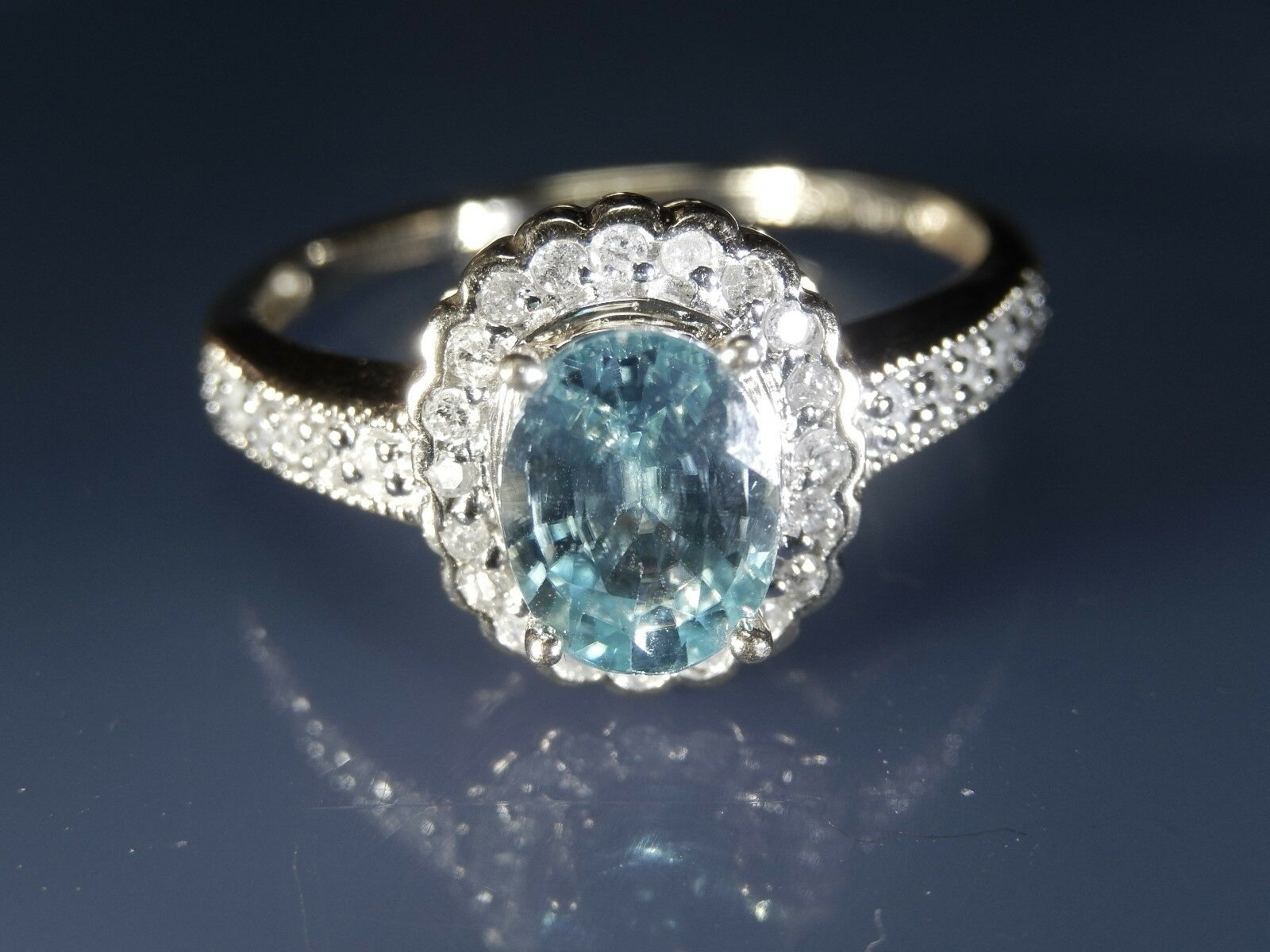 14K Yellow gold 30 Diamond and Oval blueee Topaz Halo Engagement  Ring Size 9.5