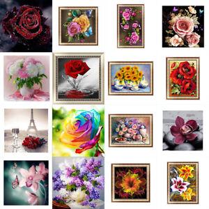 16 Arten Blumen 5D Diamant Malerei Diamond Painting DIY Stickerei Kreuzstich neu