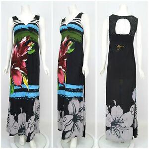 Womens-Desigual-Long-Maxi-Dress-Multicoloured-Floral-Print-Size-M