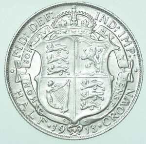 SCARCE 1913 GEORGE V HALFCROWN, BRITISH SILVER COIN GVF