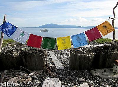 TIBETAN BUDDHIST PRAYER FLAGS 8 AUSPICIOUS SYMBOLS UNUSUAL FLAG & INK COLORS NEW