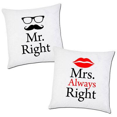 Cuscini Mr Right Mrs Always Right.Pair Of Pillow Cases Mr Right Mrs Always Right Valentine S