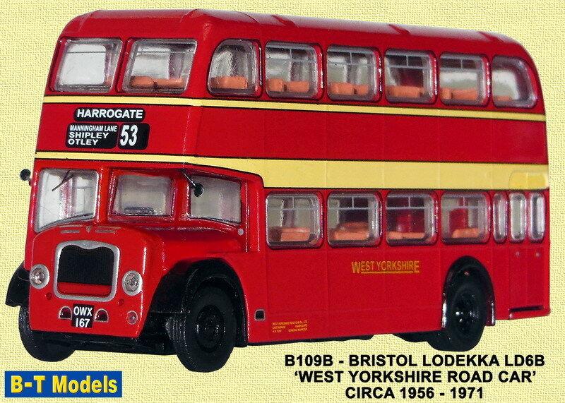 B -T modellllerlerlo B109B Bristol Lodekka West Yorks röd 1  76 Scala Misura Oo T48