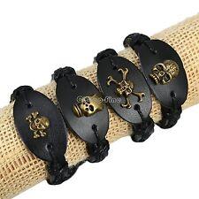 wholesale lots 8pcs SKULL Genuine ox Leather Bracelet Wristband