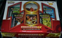 Charizard Ex Box Red & Blue Collection Pokemon Trading Cards 4 Booster Packs
