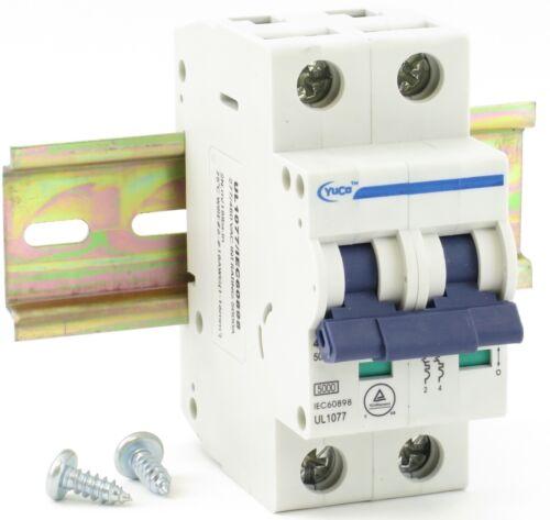 "With 4/"" Din Rail YC-2-2B YuCo 2p 2a B Curve 480v Miniature Circuit Breaker"