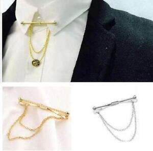 Los Angeles f8e61 d94fa Dettagli su Da Uomo collo Cravatta Camicia Pin 5.5 cm Barretta Argento Oro  Collare