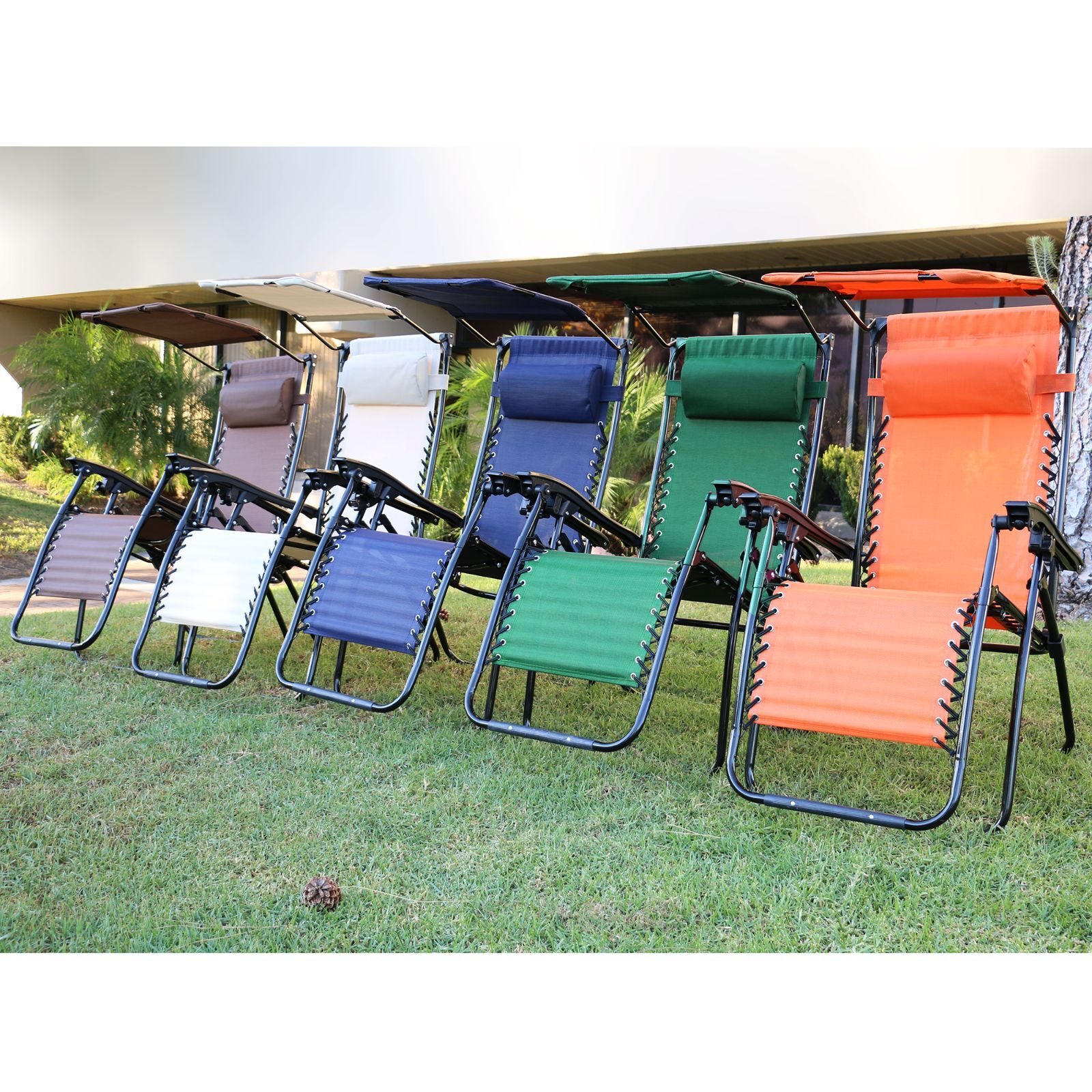 Patio Lounge Chair With Sunshade And Pillow Pool Beach Folding Chairs 1 Pair