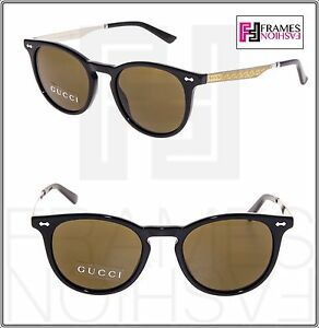 34d6edf90e Details about GUCCI 1127 Clubmaster Metal Gold Black Brown Sunglasses  Unisex GG1127S 1147