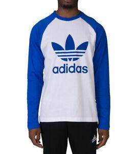 Detalles de Adidas Originales Para hombres Mangas Largas Trébol logotipo Camiseta Azul Blanco Estilo Retro ver título original