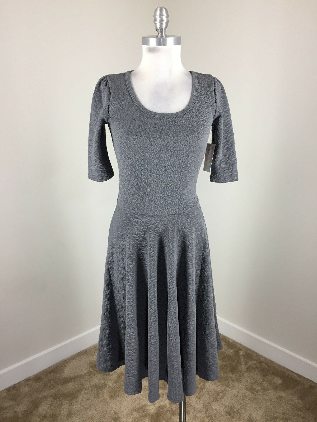 New Lularoe S Nicole dress Fit Flare Textured Jacquard Career Casual Stretch