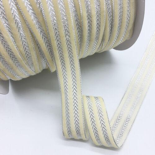 5yds 1 in Cream Velvet Ribbon Headband Clips Bow mariage décoration environ 2.54 cm 25 mm
