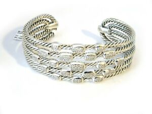 a205e61c9 Image is loading David-Yurman-Confetti-Wide-Cuff-Bracelet-Diamonds-Sterling-