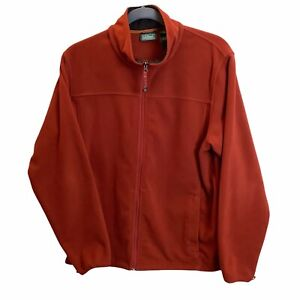 Mens L.L. Bean Burnt Orange Full Zip Fleece Jacket Zip Pockets XXL TALL