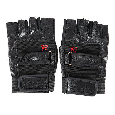 Pro Mens Weight Lifting Gym Exercise Sports Fitness PU Leather Gloves Black New