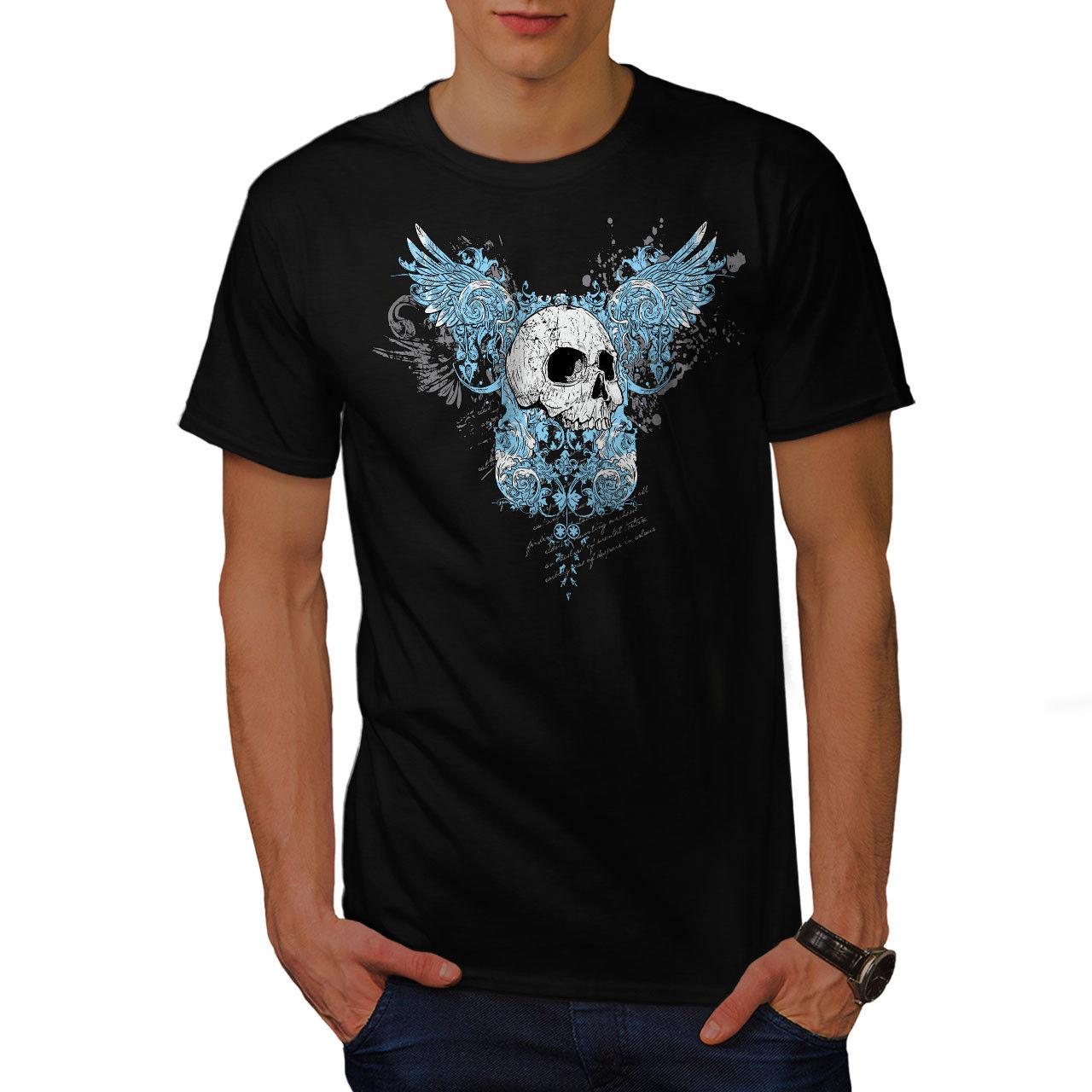 Wellcoda Wings Goth Biker Skull Mens Tank Top Angel Active Sports Shirt