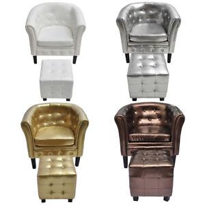 Artificial Leather Tufted Tub Barrel Club Chair Armchair W