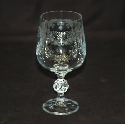 """Old Vintage Cascade Crystal 6-5//8/"""" Water Goblet Etched Clear Ball Stem by Import"""