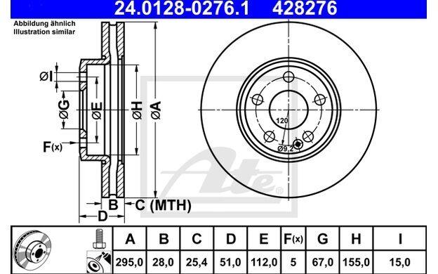 ATE Juego de 2 discos freno 295mm ventilado para MERCEDES  A 24.0128-0276.1