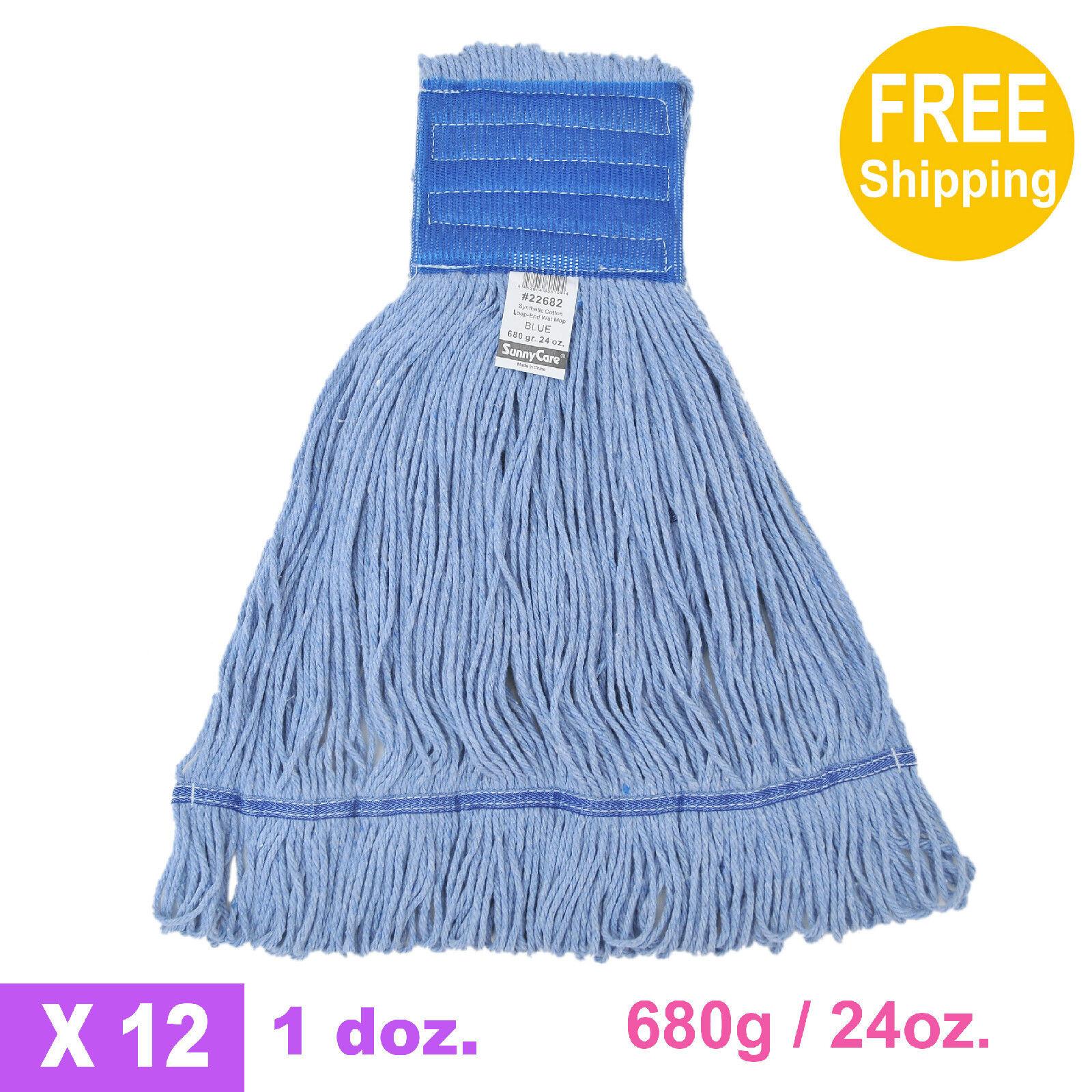 1doz. 680g 24oz. SunnyCare bluee Synthetic Cotton Loop-End Wet Mops 12 CS