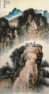 Excellent-Chinese-Hanging-Painting-amp-Scroll-Landscape-By-Shi-Lu-WD93D