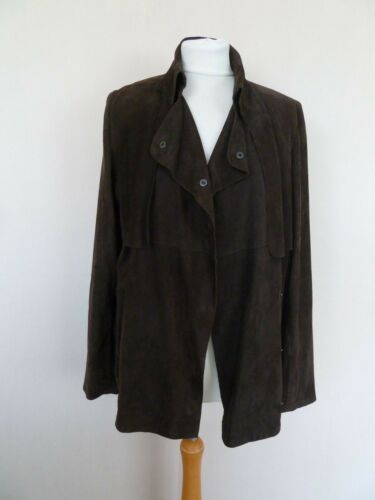 Size Excellent Jaeger Fab Suede Brown 10 Condition Collared Jacket Leather xCRYT