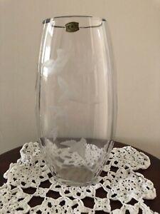 Val-St-Lambert-Crystal-Bird-Engraved-Vase-Barthelemy-amp-Charles-Graffart-Signed