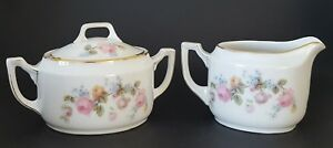Epiag Czechoslovakia Sugar Bowl and Creamer Set Pink Yellow Blue Floral Roses