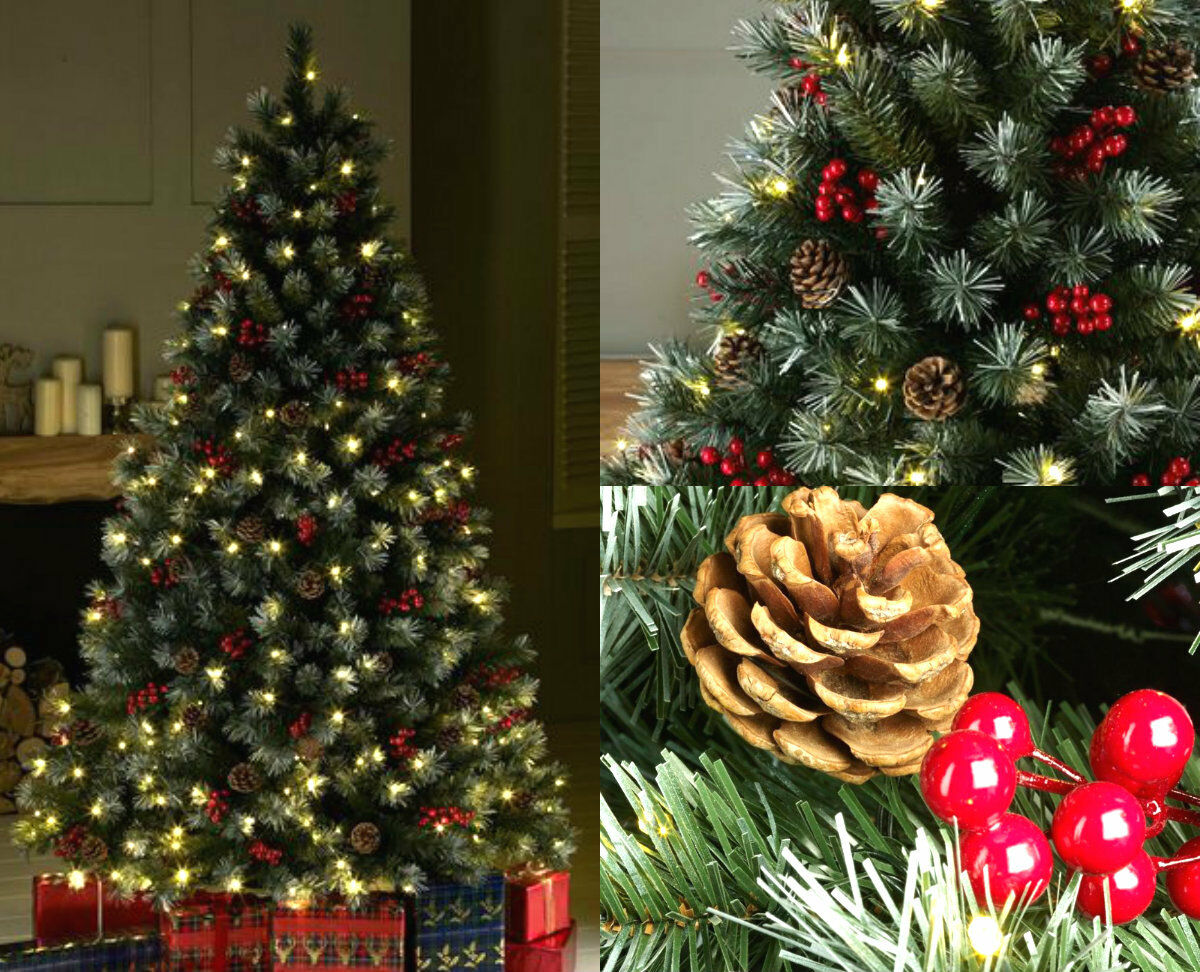 Pre-Lit Realistic Christmas Tree Frosted Pine Cone Berries Luxury 7FT 6FT 5FT