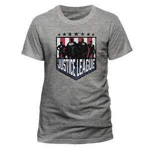 OFFICIAL-DC-COMICS-T-Shirt-Justice-League-Silhouette-Shield-Mens-M-L-NEW