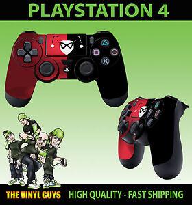 PS4-Playstation-4-Polster-Aufkleber-rot-schwarz-Harley-Quinn-Logo-Arkham-Batman