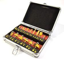 "ROUTER BIT SET - 15 piece 1/2"" inch Shank CARBIDE TIP Deluxe Aluminum Case"