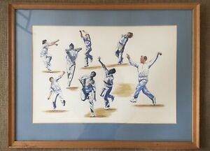 Painting-Ink-And-Watercolour-Ballet-Of-The-Bowlers-Signed-Dated-94-Cricket