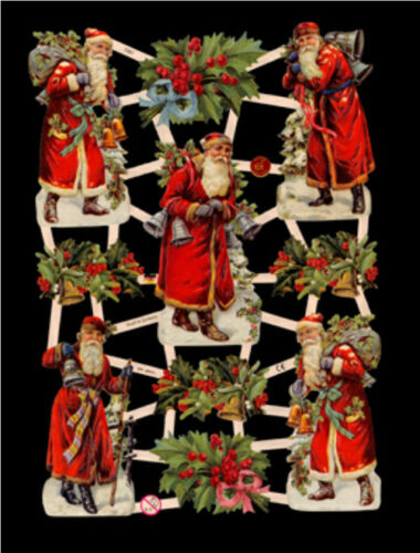 5 SHEETS CHRISTMAS SANTA CLAUSE VICTORIAN DIE CUTS SCRAPBOOK PAPERS SCRAPS
