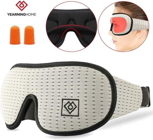 3D Contoured Cup Eye Mask For Sleeping /& Blindfold With Ear Plug For Women /& Men