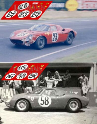 Calcas Ferrari 250 LM Le Mans 1964 23 58 1:32 1:24 1:43 1:18 slot decals