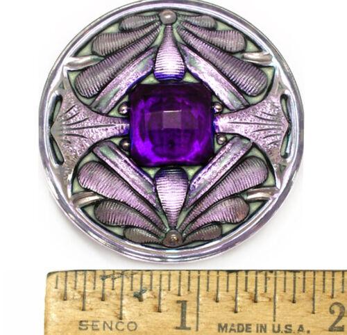 XL 42mm Vintage Czech Glass Art Nouveau Double Dragonfly Purple AB Button 1pc