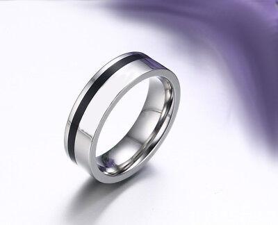 plata dedo anular anillo F New damas y hombres de acero inoxidable gris 3