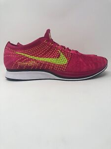 the latest f5314 3afd4 Image is loading Nike-Flyknit-Racer-FIREBERRY-PINK-FLASH-VOLT-OREO-