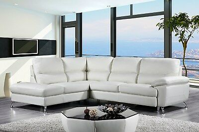 Cortesi Home Contemporary Miami Genuine Leather Sectional Sofa with Left  Facing | eBay