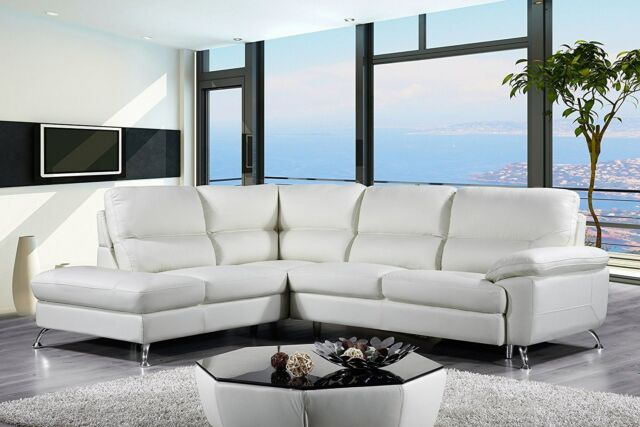 Cortesi Home Contemporary Miami Genuine Leather Sectional Sofa with Left  Facing