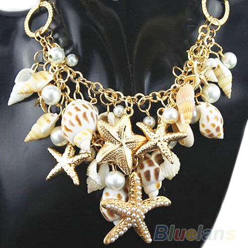 Women's Ocean Sea Shell Faux Pearl Starfish Layered Statement Necklace Sweet NEW