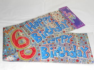 3 GIANT FOIL HAPPY 4TH BIRTHDAY BANNER PARTY DECORATION G4 SASH WALL BANNER