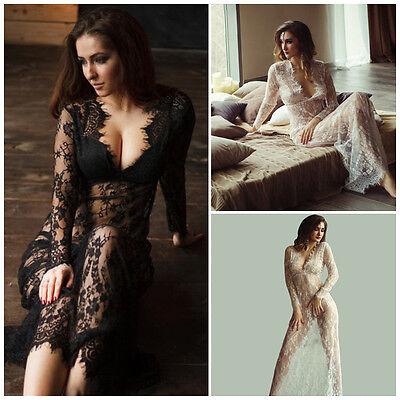 Women Sexy Perspectived NightClub Dress Fashion Lace V-Neck Maxi Sexy Long Dress