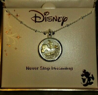 Disney Mickey Mouse Charm Dream Bar Two Tone necklace silver Plated Chain NIP
