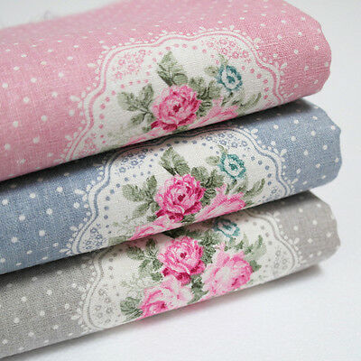 Lot of 3 Fat Quarters 100% Cotton Linen Fabric Floral Print Sewing Craft s-012