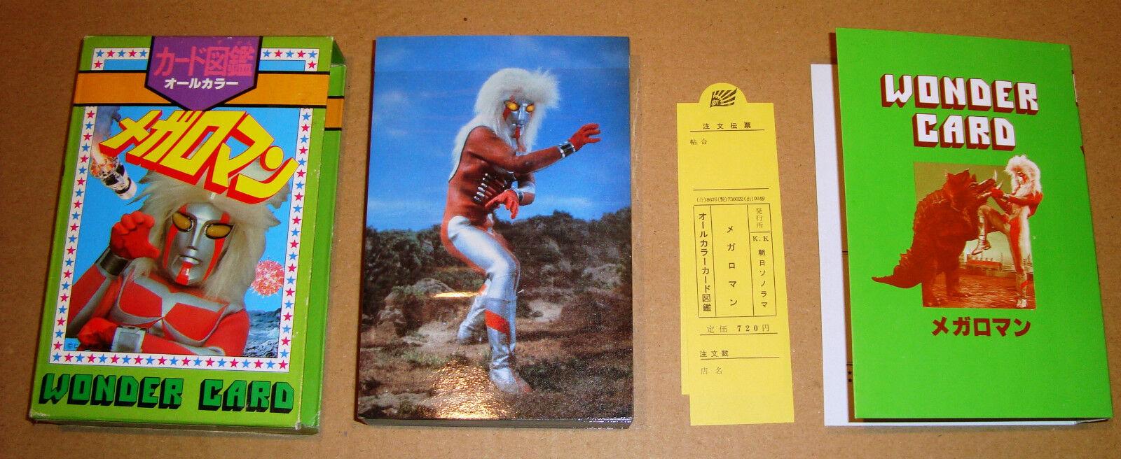 MEGALOMAN WONDER CARD BOOK SET COMPLETO 64 MEGACARD CON BOX ASAHI SONORAMA 1979