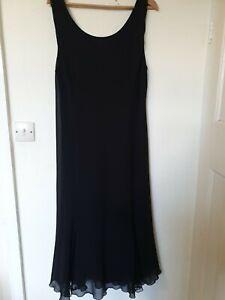 Roman-Originals-Maxi-Black-Flute-Dress-Crochet-Panel-Hem-Detail-Size-20