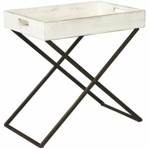 Ashley Janfield Tray Top End Table in Antique White ...